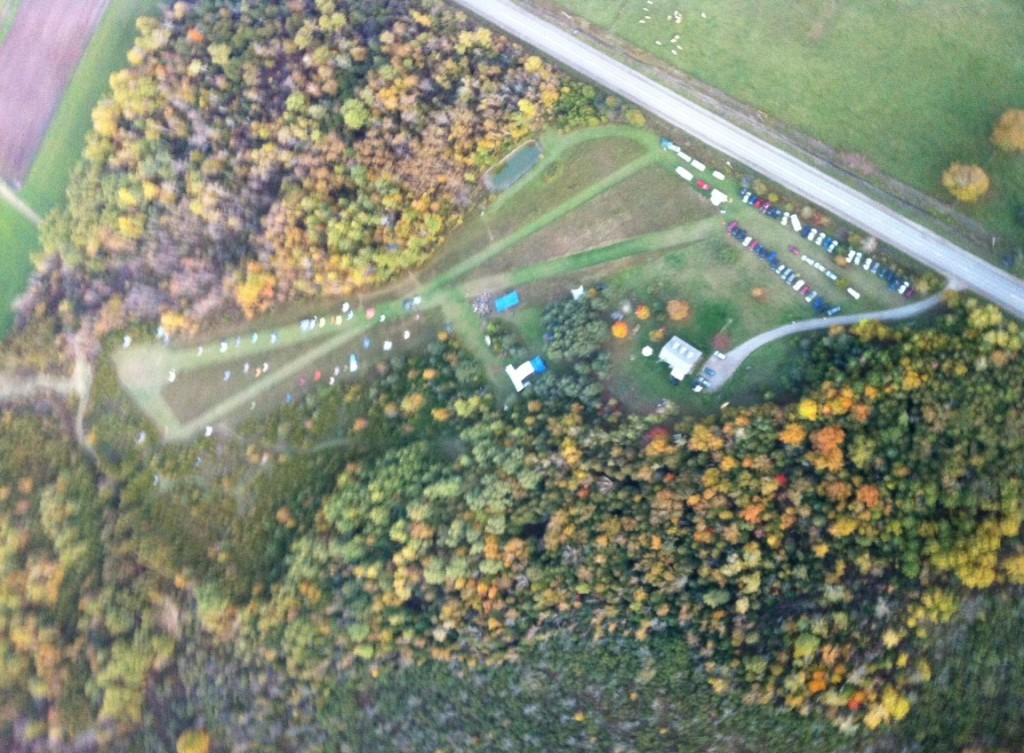 Aerial view of Harvest Gathering 2013. What you can't see are all of our workshop areas that are tucked into the surrounding forest.